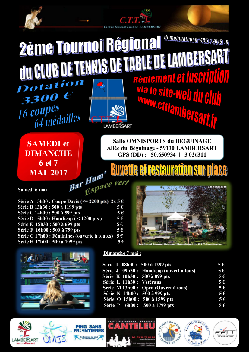 Tournoi r gional du c t t lambersart 59 6 7 mai - Tournoi tennis de table ile de france ...