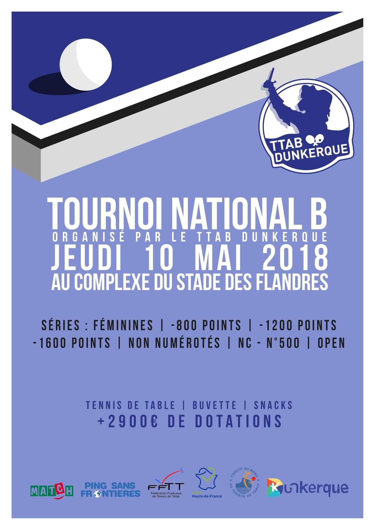 Tournoi national b de dunkerque 59 le jeudi 10mai 2018 tournois forum de tennis de table - Jeudi de l ascension 2018 ...